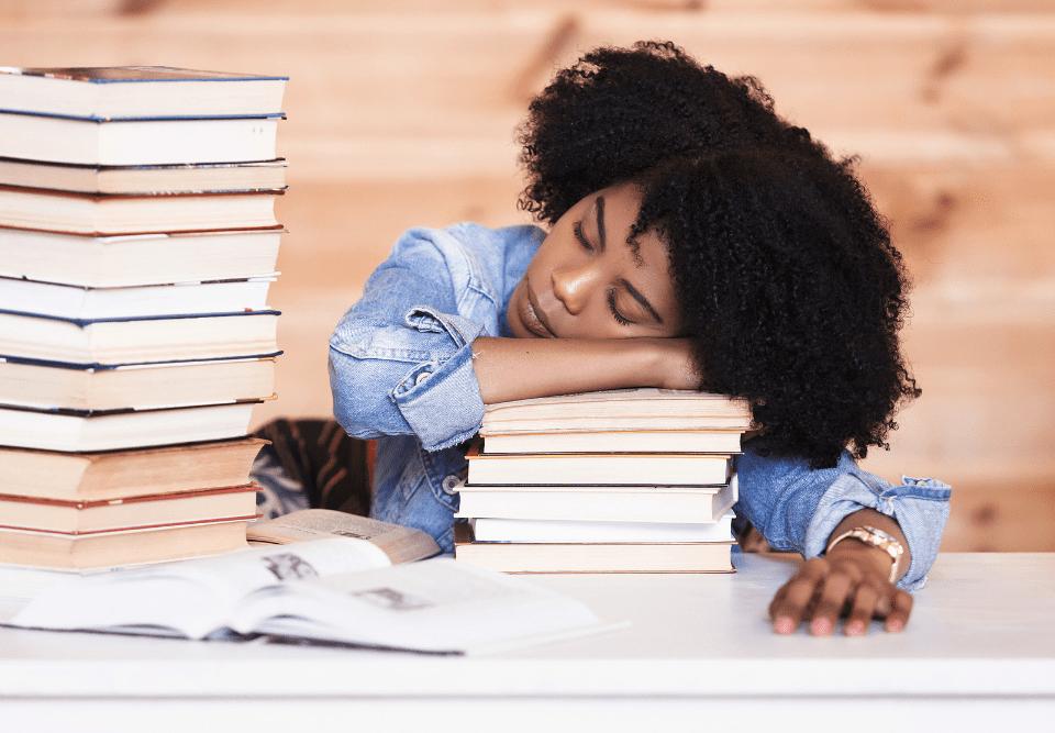sleeping and studying